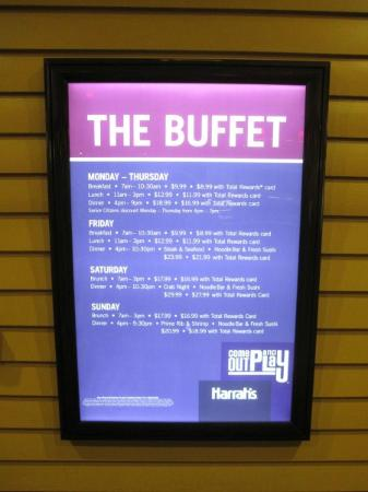 Harrah's North Kansas City: Buffet pricing display