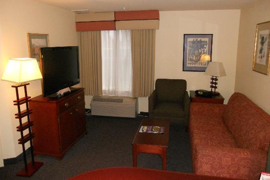 """Larkspur Landing Bellevue- An All-Suite Hotel: Executive Suite- """"Living room"""" area. TV, DVD player, CD player, Couch..."""