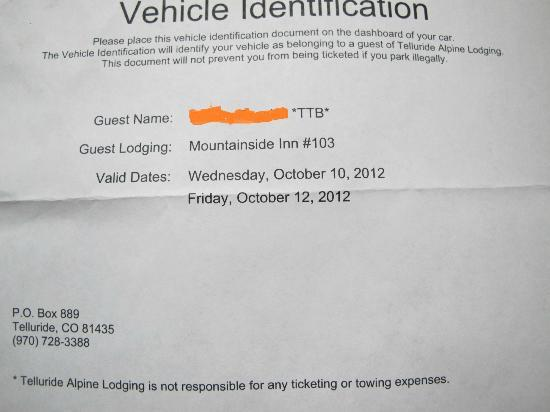 Mountainside Inn: my name on the parking permit