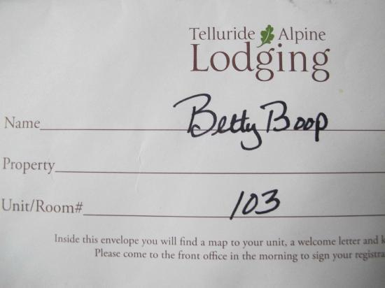 Mountainside Inn: name on the envelope