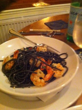 Bellows Falls, VT: black ink pasta with shrimp