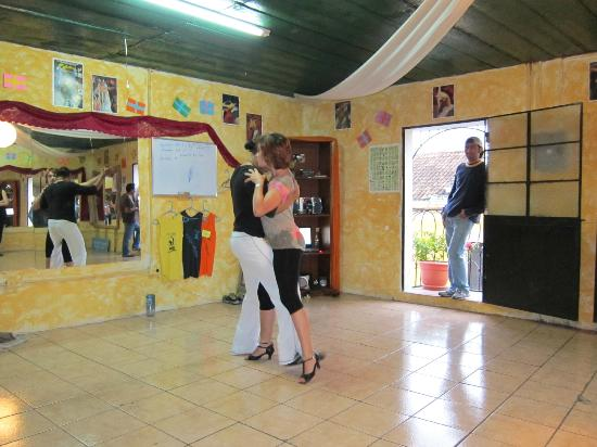 Western Highlands, Guatemala: Demo dance by Manolo and partner -- sexy salsa at its best