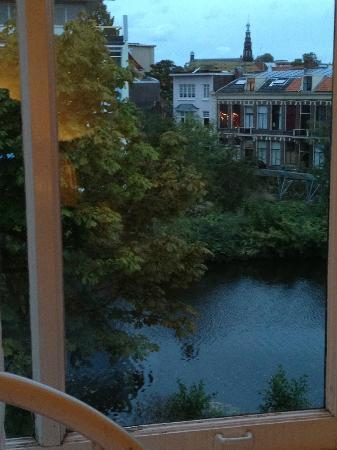 Pension Witte Singel: View of Canal from small room at top facing front