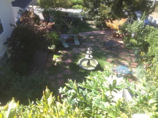 Occidental, Kalifornia: the court yard as seen from out room