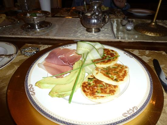 Osler House: Savory pancakes, shaved cucumber and serrano ham
