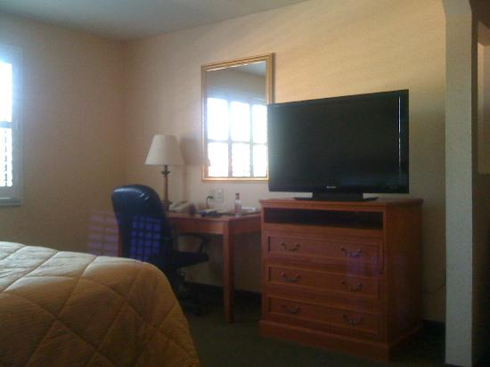 Comfort Inn & Suites near Long Beach Convention Center: King bed suite, no-smoking. Not the largest t.v. but it didn't matter.