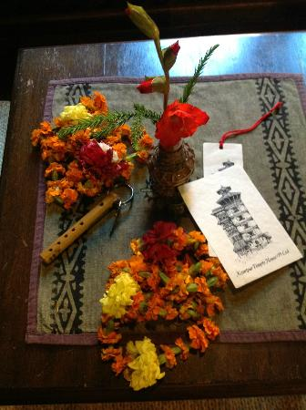 Kantipur Temple House: Welcome flowers, key and postcard