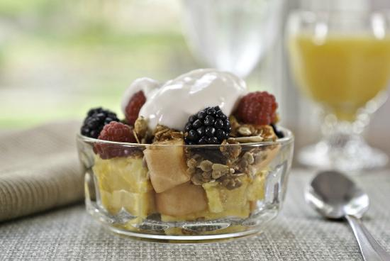 Golden Stage Inn Bed and Breakfast: Yogurt and fresh fruit is a common part of our two-course plated breakfasts.