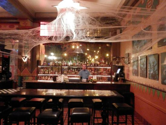 The Historic Hotel Congress: Bar in Lobby with Halloween webs.