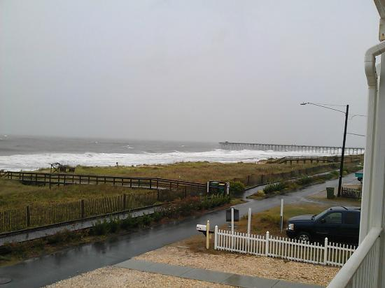 Darlings By The Sea: View of the Kure Beach Pier from the patio/balcony.