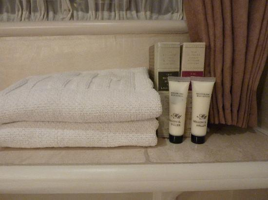 Arden House Bed & Breakfast Bexhill: Books & lotions on shelf above toilet