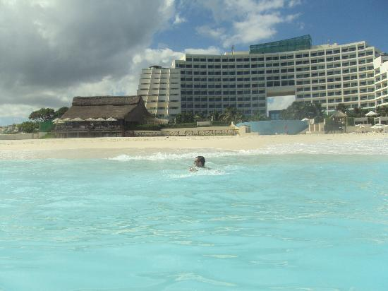Live Aqua Cancun All Inclusive: View of resort from in the ocean