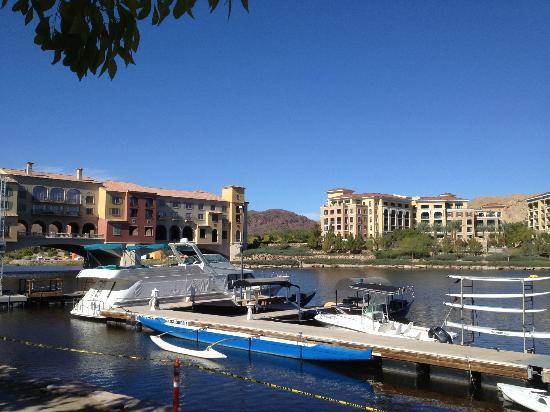 Hilton Lake Las Vegas Resort & Spa: View of the Hotel Bridge from the Sunset Cafe in the Village