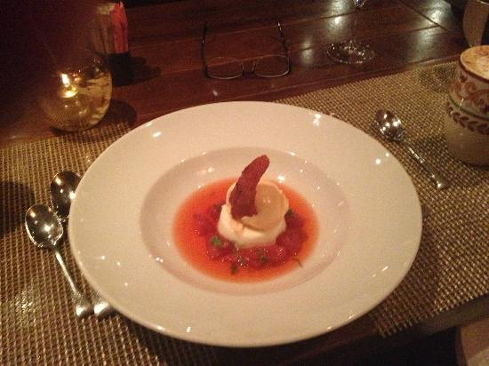 Rosewood Inn of the Anasazi: Dessert - Vanilla Panecatta with Rose Petal Ice Cream