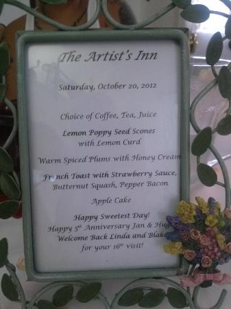 Artist's Inn and Gallery: Breakfast Menu