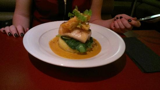 The Angel Inn: Cod with tempura langoustine in a seafood bisque