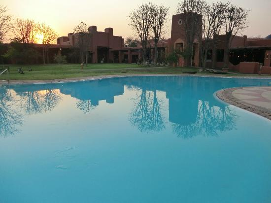 Sunrise at Zambezi Sun swimming pool