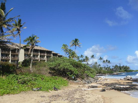 Wailua Bay View Condominiums: View of Condo from the beach