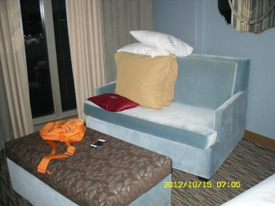 Crowne Plaza Chicago O'Hare: Couch and footstool