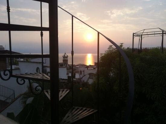 Villa David: sunset taken from spiral stairs