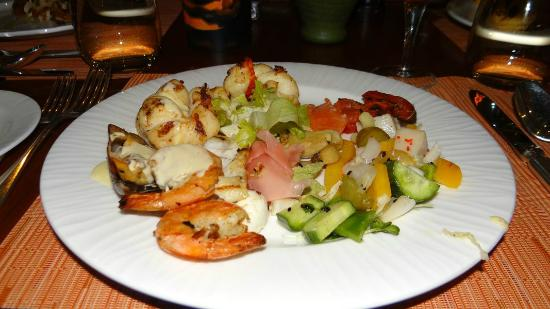 The Ritz-Carlton, Doha: My seafood and salad dish