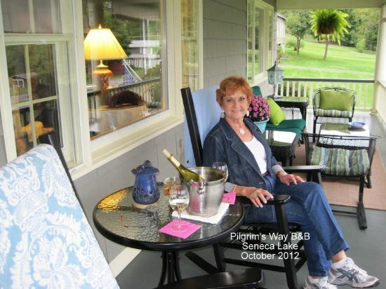 Pilgrim&#39;s Way Bed and Breakfast: Lovely front porch and terrific view of Seneca Lake