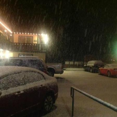 Secrets Inn carpark - lovely large snow flakes falling