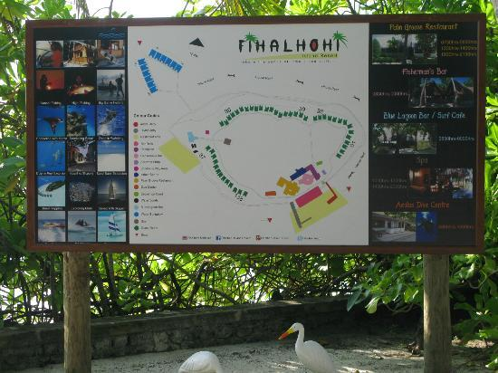 Fihalhohi Tourist Resort: map of the island