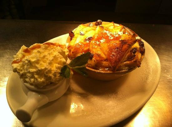Deddington, UK: Bread and Butter pudding with fresh whipped double cream