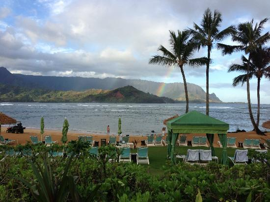 St. Regis Princeville Resort: View from pool of beach