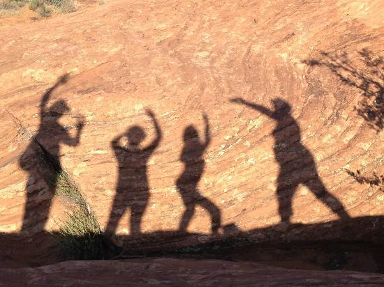 Ivins, UT: shadows on morning hike with BOMA