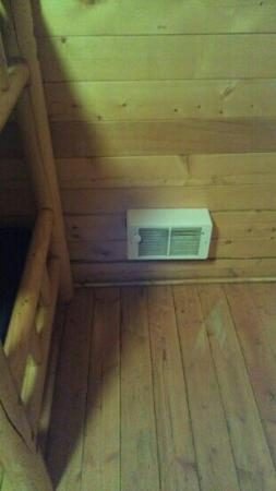 Ouray Riverside Inn and Cabins: this is the heater they provide you with to heat THE ENTIRE CABIN... In 25 DEGREE WEATHER.