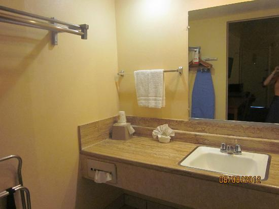 Super 8 Motel Austin Downtown: large mirror and sink.