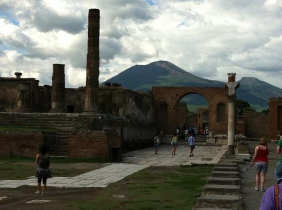 Amalfi Car Service Private Tours: Mt. Vesuvius in background from the ruins of Pompeii.