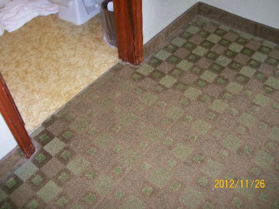 Weathervane Motor Inn: worn carpet &amp; dirt around wallbase