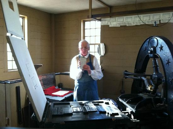 Old Sturbridge Village: Printing press demonstration