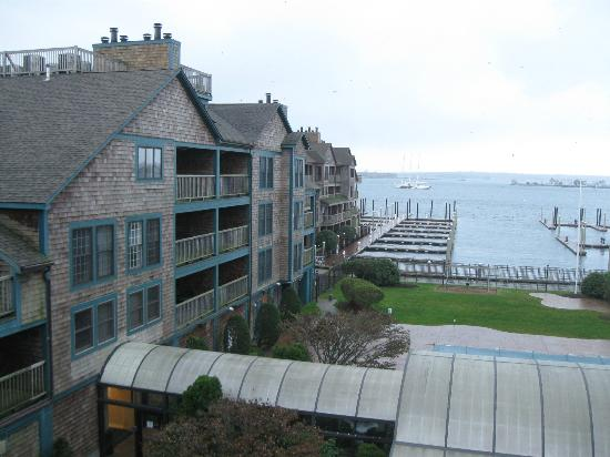 Wyndham Newport Onshore : View from living room balcony of harbor and  West Wind section which has better views
