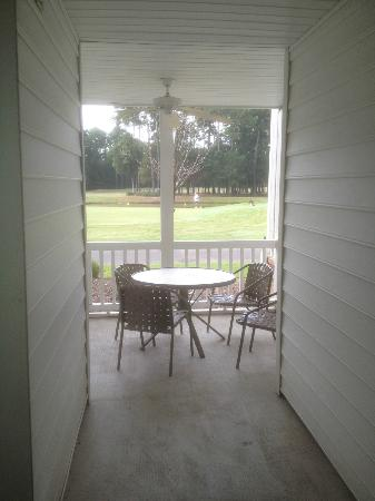 "Ellington at Wachesaw Plantation East: shared ""patio"" designated smoking area for two apartments"