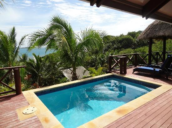 Wananavu Beach Resort: Private plunge pool and view from Honeymoon Bure 23