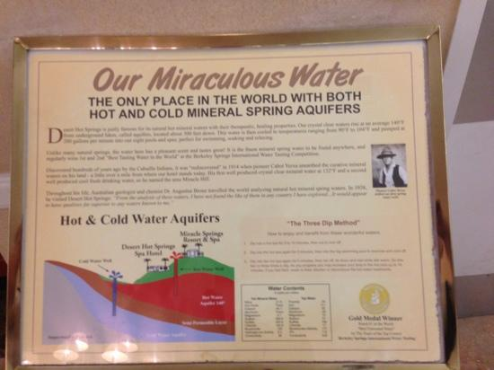 Miracle Springs Hotel and Spa: Mineral water information