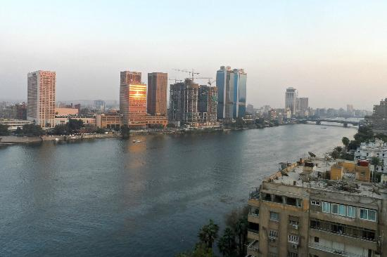 Hilton Zamalek Residence: View of the Nile and central Cairo from our balcony