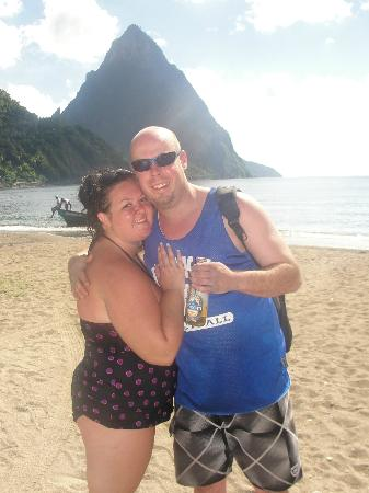 Sandals Halcyon Beach St. Lucia: On Joe Knows, standing on front of one of the Piton Mountains