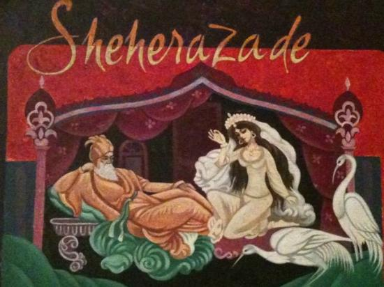 Hotel Sheherazade: part of wall mural in reception area