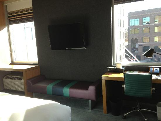 Aloft Chapel Hill: Room view w/ windows, flat-screen TV, view of the condos accross the street