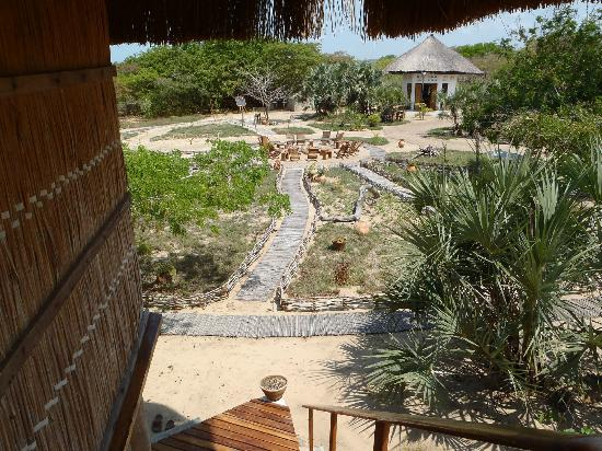 Marimba Secret Gardens: View from our room looking toward the central area (fire pit)
