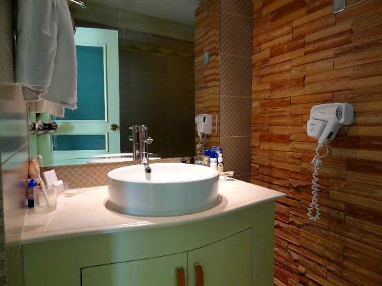   : Spacious basin area. Love the hairdryer