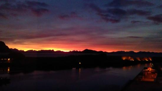 Thon Hotel Lofoten: View from my room. Sunrise, 27.11.2012.