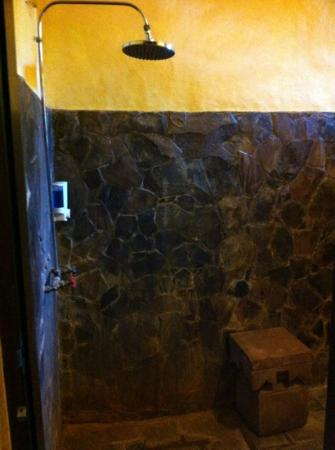 Flashback's: rain shower in the cool stone bathroom