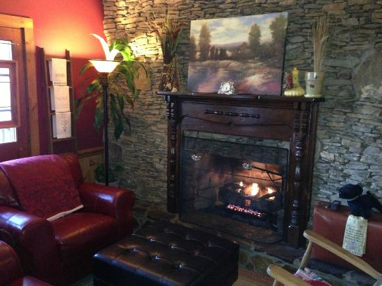 Aska Lodge B&B: Great fireplace and sitting area