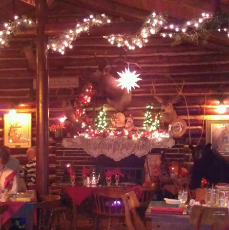 festive hearth picture of log cabin inn restaurant wellsboro tripadvisor. Black Bedroom Furniture Sets. Home Design Ideas